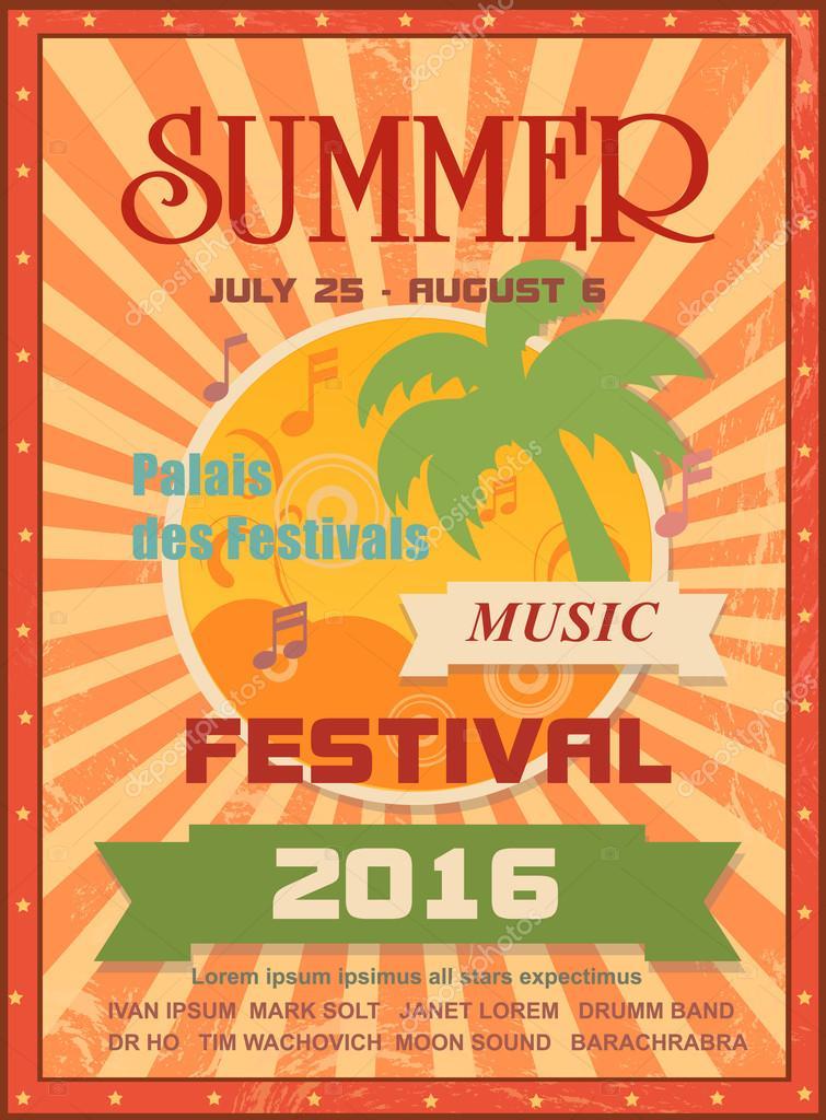 summer festival de musique de mod le d 39 affiche imprimable ou banni re web avec des palmiers le. Black Bedroom Furniture Sets. Home Design Ideas
