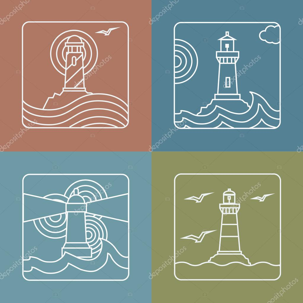 Vector lighthouse logo design templates   linear style abstract emblems and badges - navigational or travel concepts
