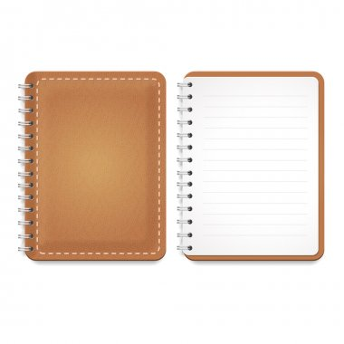 Illustration of a leather notebook with spiral, notepad and blank lined paper. Vector  Template isolated on white.