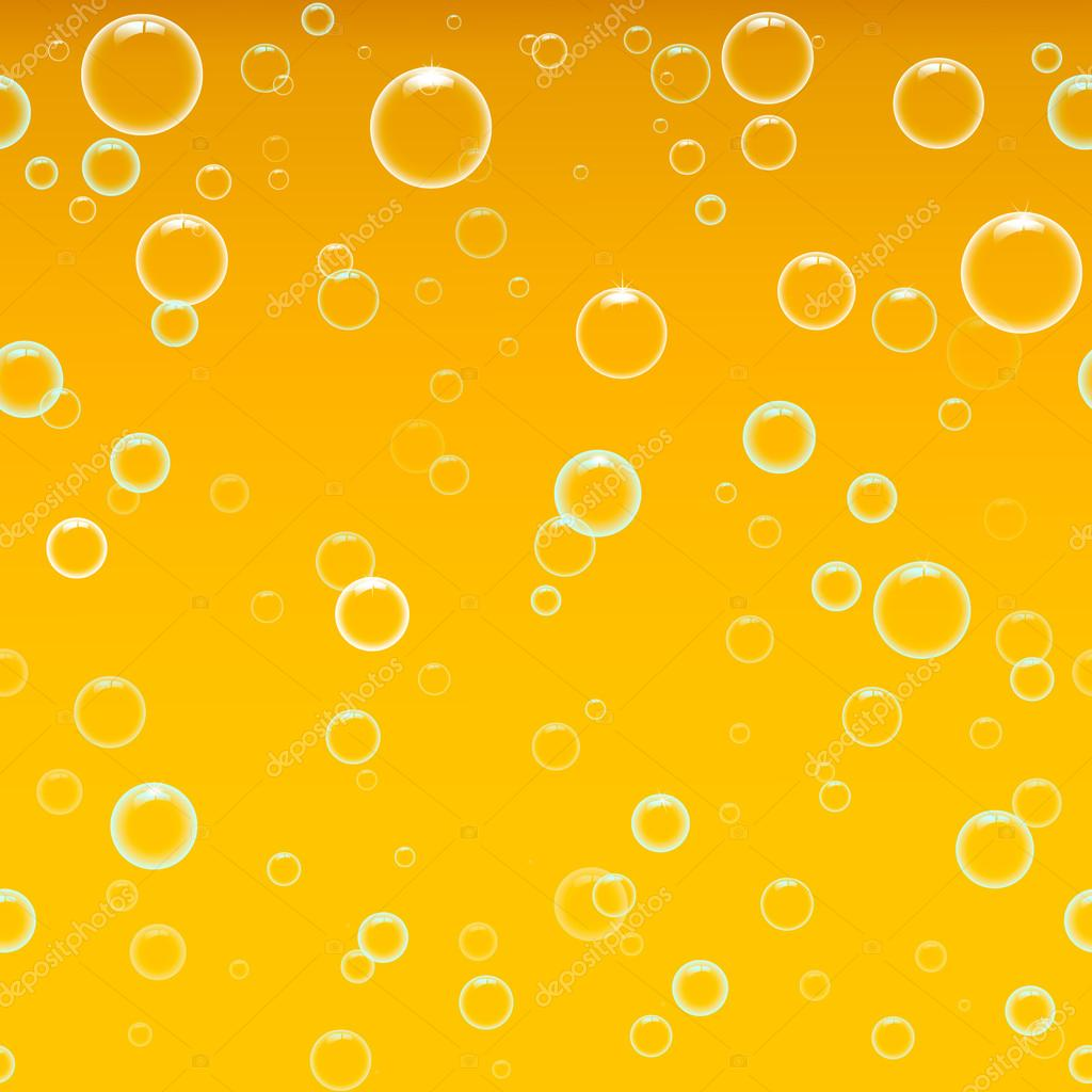 Beer foam background, horizontal seamless beer pattern. Bubbles in water on yellow background  Light bright, bubble and liquid, vector illustration