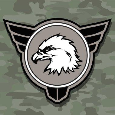 Eagle head logo emblem template mascot symbol for business or shirt design. Vector military design  element.
