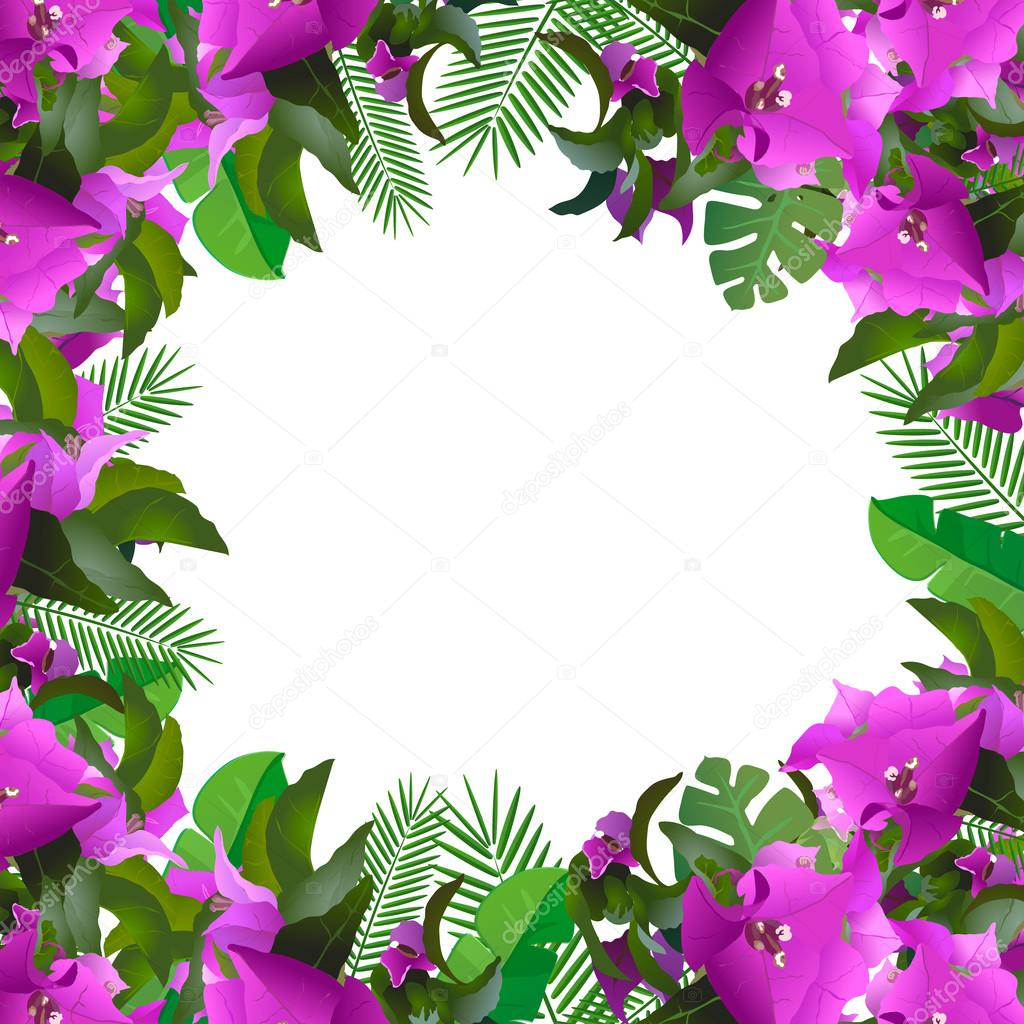 Tropical leaves floral design and text place