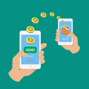 Hands holding smartphones.  Banking payment apps. People sending and receiving money wireless with their mobile phones.  Flat style vector icons.