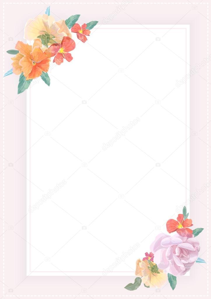 Acuarela Tarjeta De Felicitación Con Rosas Para Invitación