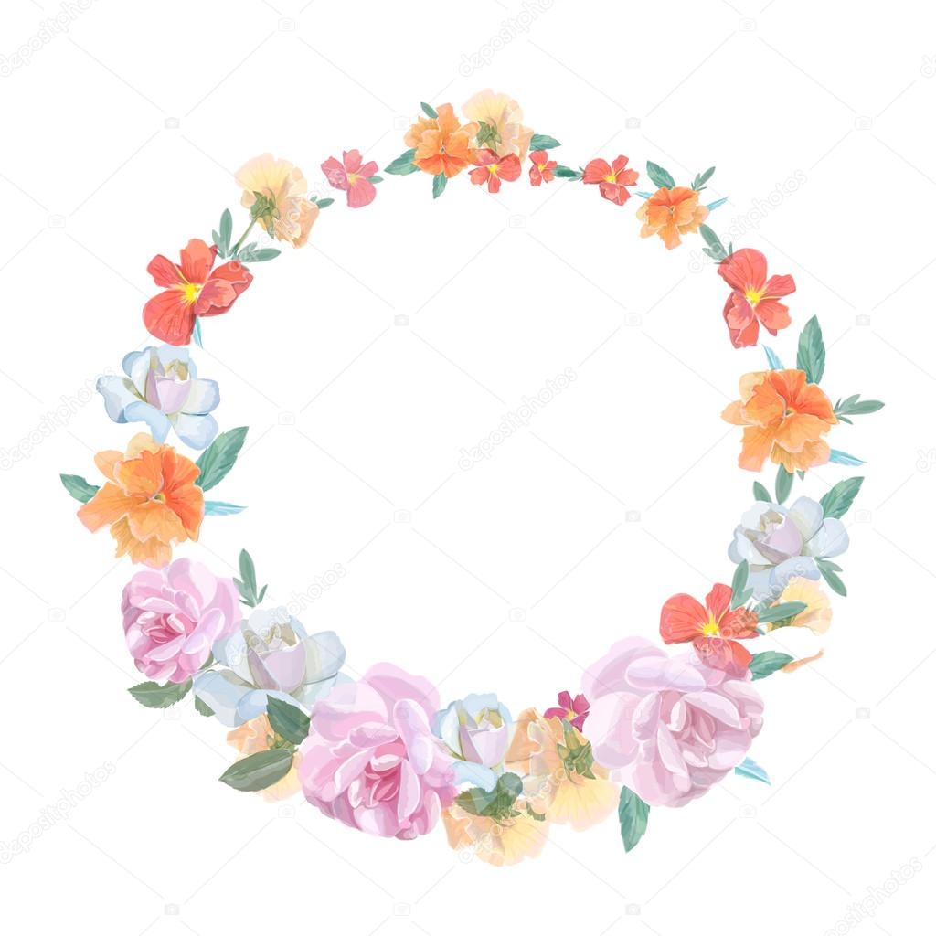 Retro round frame from roses, painted in watercolor style