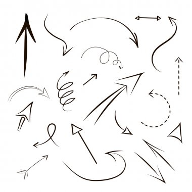 Arrows and lines  hand drawn set isolated on gray backgrond - Vector illustration