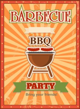 Invitation card on the barbecue design template Cookout poster with charcoal grill sausages, forks and place for text.