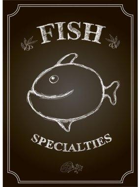 Blackboard fish restaurant menu card