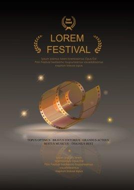 Camera film 35 mm roll gold, festival movie poster, Slide films frame, vector illustration