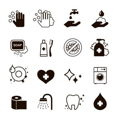 hygiene icons set