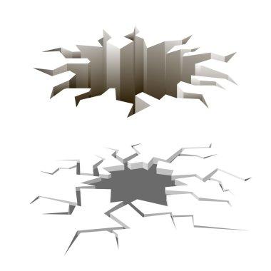 Cartoon ground cracks vector set. Earthquake surface, danger background, holes