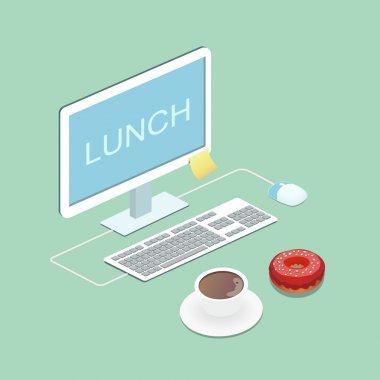 Laptop, coffee and donut illustration concept Lunch