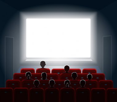 People watching movie at cinema hall.  Film screen,  show or concert. Vector illustration.