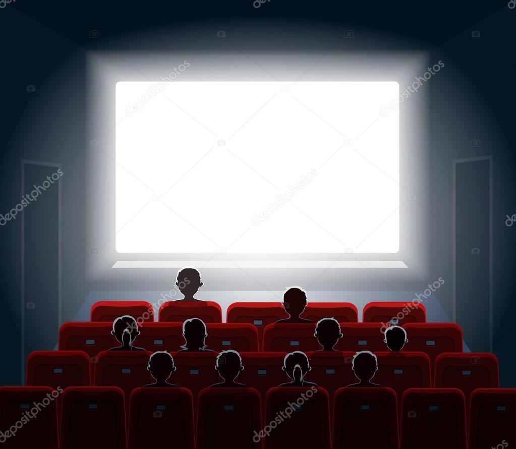 Pessoas Assistindo O Filme Na Sala De Cinema Tela Do Filme Show Ou  -> Imagem De Sala De Cinema