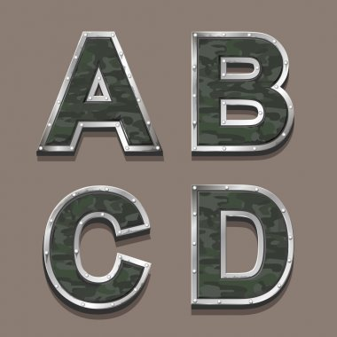 Military letters alphabet. Steel Metallic khaki Font