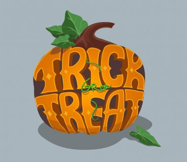 Trick or treat. Halloween poster with hand lettering and pumpkin.