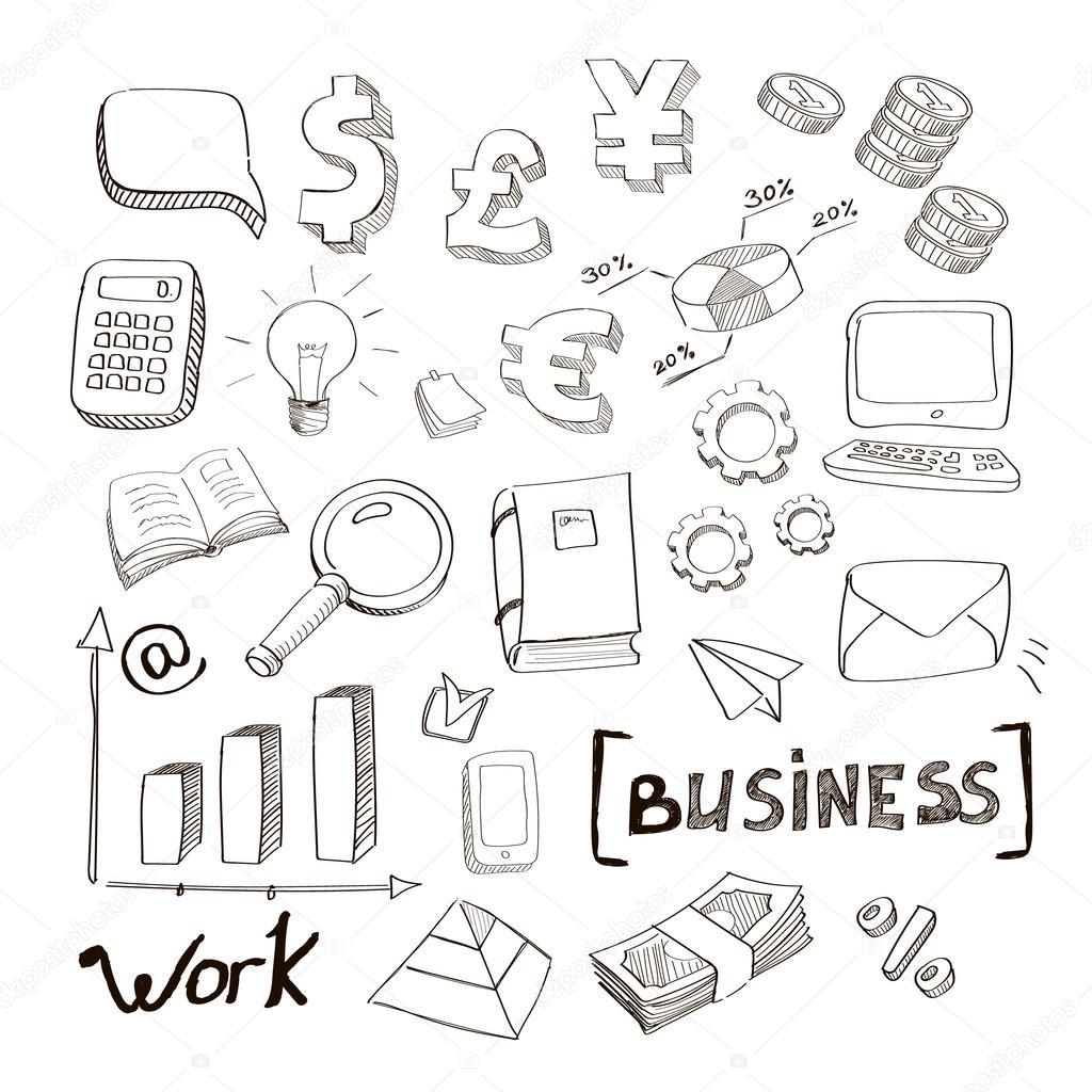 Zakelijke Financien Doodle Hand Getrokken Elementen Concept