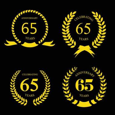 Sixty five years Anniversary laurel golden label set vector