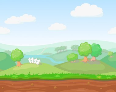 Cartoon cute  country seamless horizontal landscape, nature vector