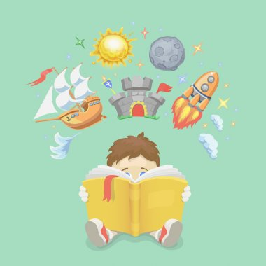 Imagination concept, boy reading a book,  rocket flying out, ship,  castle, planet. vector illustration