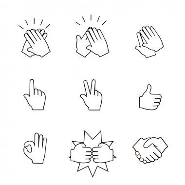 Set of two hands icons.  Handshake, clapping applause. Vector  illustration