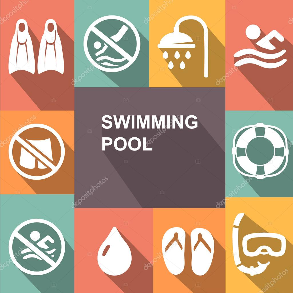 Swimming sign icon. Pool swim symbol. Sea wave. Diving. mask,  flippers and shower. Vector