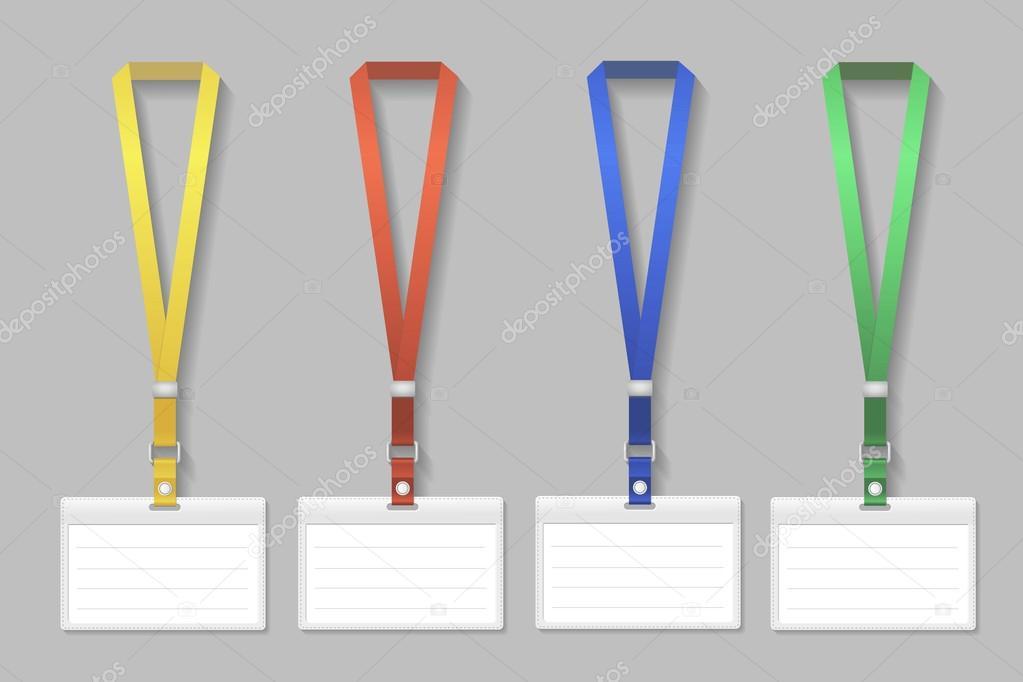 Badge Template Name Bag Holder With Lanyard Set Vector - Lanyard template