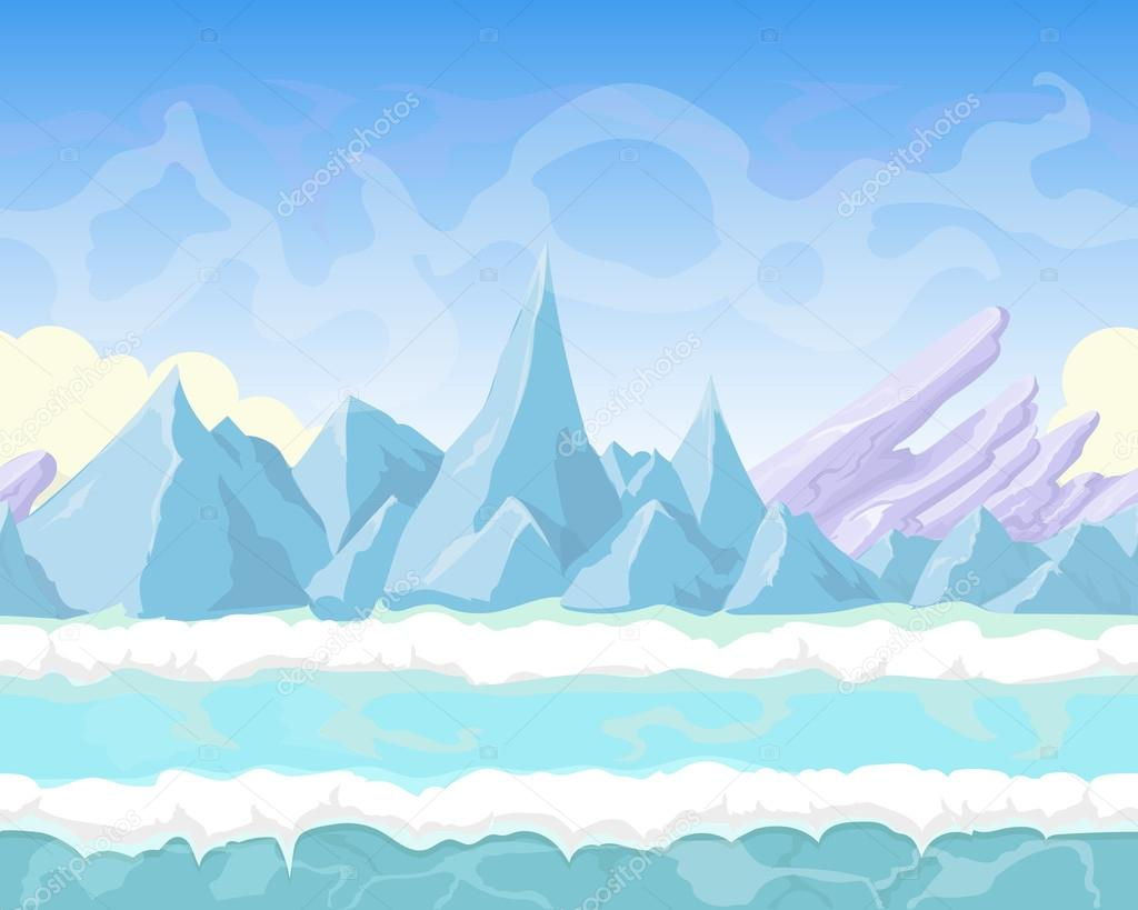 Seamless cartoon fantasy landscape with mountains, snow and ice for game design