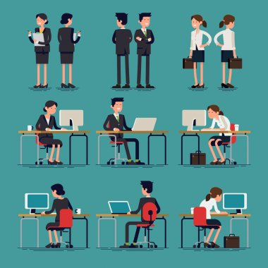 Cool flat design corporate business team people standing and sitting behind desk. Office workers, front and rear view. Men and women in sitting and standing poses clip art vector