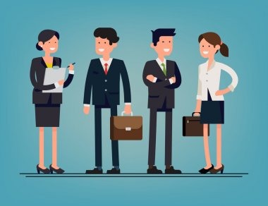 Cool flat design corporate business people line-up. Group of office workers standing smiling. Men and women in office wear full length, isolated stock vector
