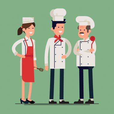 Cool vector flat design culinary and cuisine professionals. Smiling restaurant chef kook with assistants silhouettes isolated. Catering cuisine staff characters stock vector