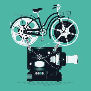 Projector with film reels as bicycle wheels.