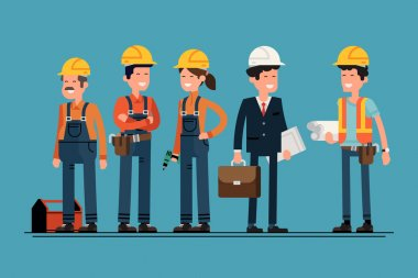 Civil engineer, architect and construction workers characters group. Cool vector flat design construction team characters line-up. Group of construction workers in hard hats friendly smiling stock vector