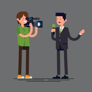 Video cameraman filming news reporter