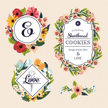 Floral retro style badges and labels.