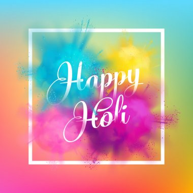 Happy Holi spring festival of colors greeting vector background with realistic volumetric colorful Holi powder paint clouds and sample text. Blue, yellow, pink and violet powder paint clip art vector