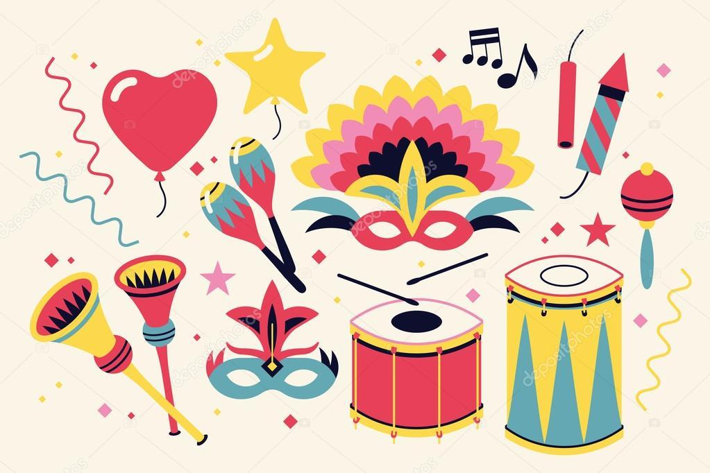 Art culos de disfraces y carnaval cool vector de stock - Articulos carnaval ...