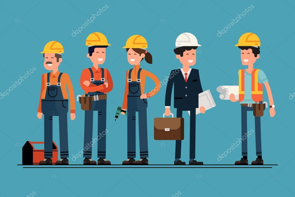 Architect and construction workers characters group.