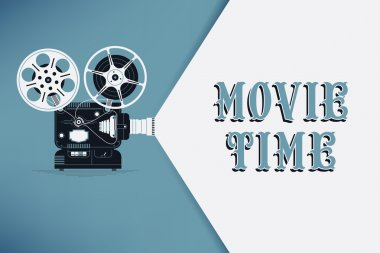 Lovely movie time concept layout with film projector and text area with sample title in retro western font. Cool cinema poster, leaflet or banner template with detailed retro projector with film reels stock vector