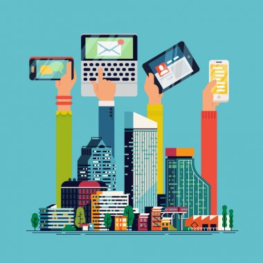 Cool flat illustration on Smart City. Social media and on devices in hands of city people. City people using their phones, tablet and laptop clip art vector