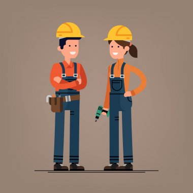 Couple of construction workers characters