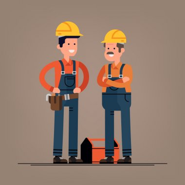 Couple of construction workers flat characters