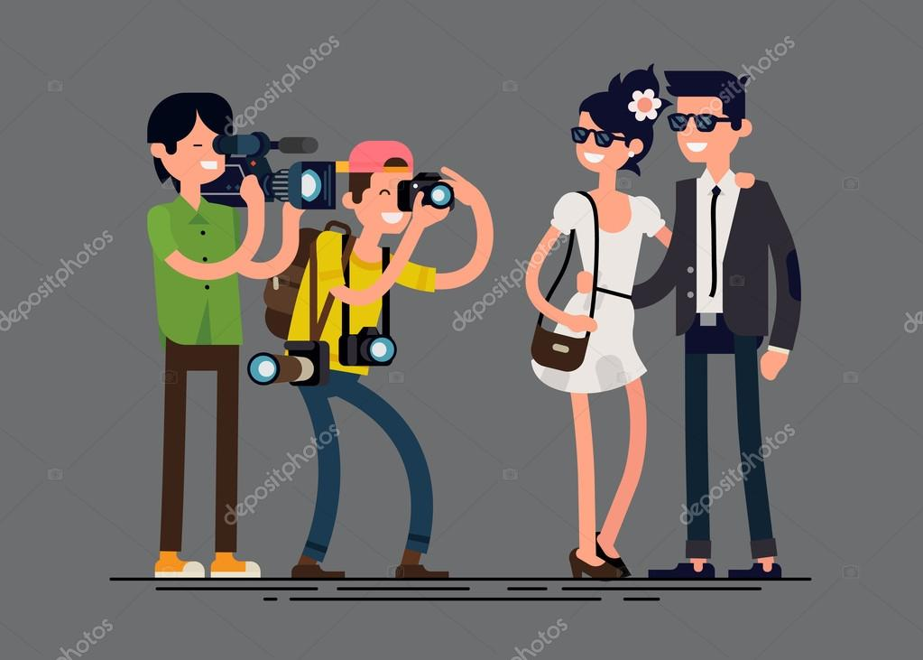 Photographer and videographer professionals at work