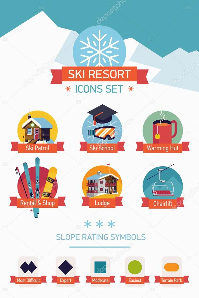 Ski resort icons — Stock Vector © masha_tace #102843416