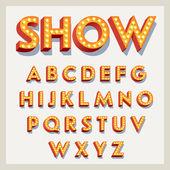 Buchstaben mit Glühbirnen.