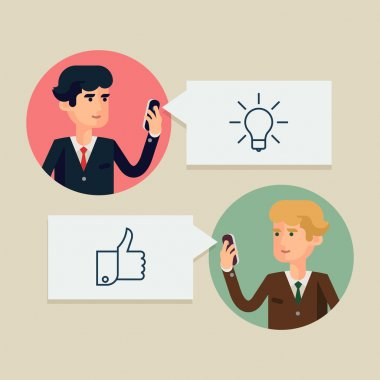 Vector modern flat design illustration on two business men in idea approval process. Digital media, mobile and social network usage in business and industry management clip art vector