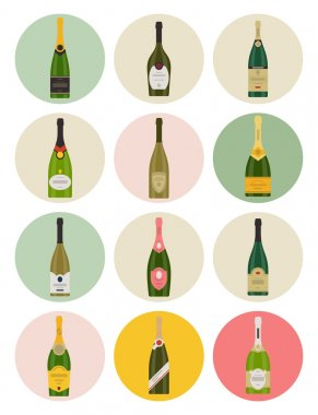 Champagne bottles icons