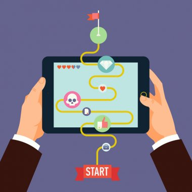 Vector modern flat design concept illustration on gamification and innovation in business and industry featuring male hands holding tablet computer with business strategy as simplified game level clip art vector