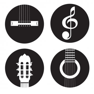 Classical acoustic guitar icons