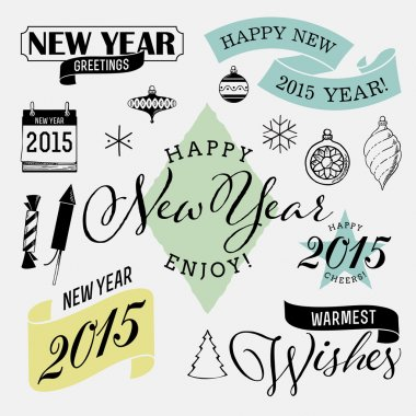 Retro new year decorations